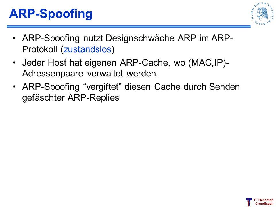 ARP-Spoofing ARP-Spoofing nutzt Designschwäche ARP im ARP-Protokoll (zustandslos)