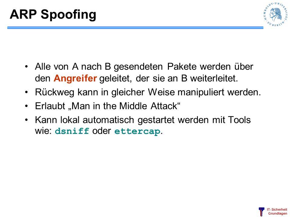 ARP Spoofing Alle von A nach B gesendeten Pakete werden über den Angreifer geleitet, der sie an B weiterleitet.