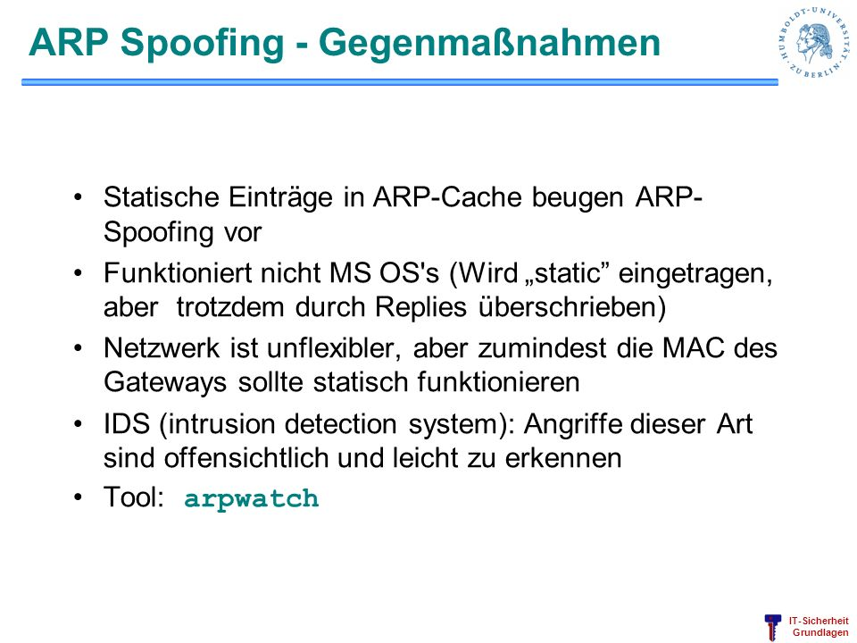 ARP Spoofing - Gegenmaßnahmen