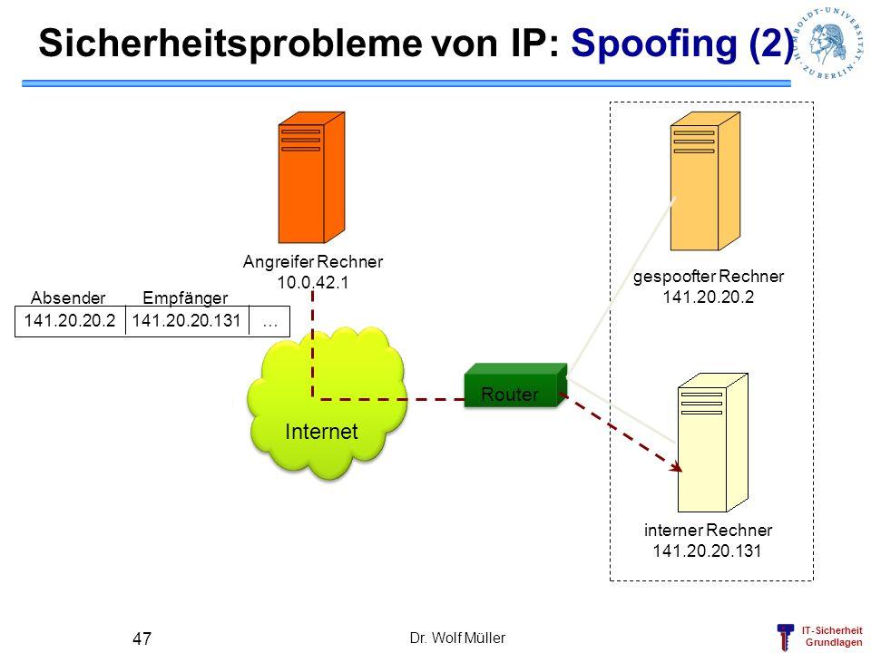 Sicherheitsprobleme von IP: Spoofing (2)