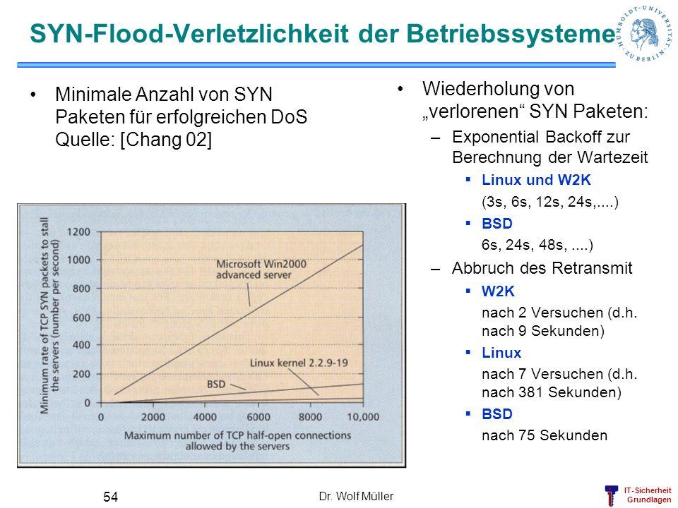 SYN-Flood-Verletzlichkeit der Betriebssysteme