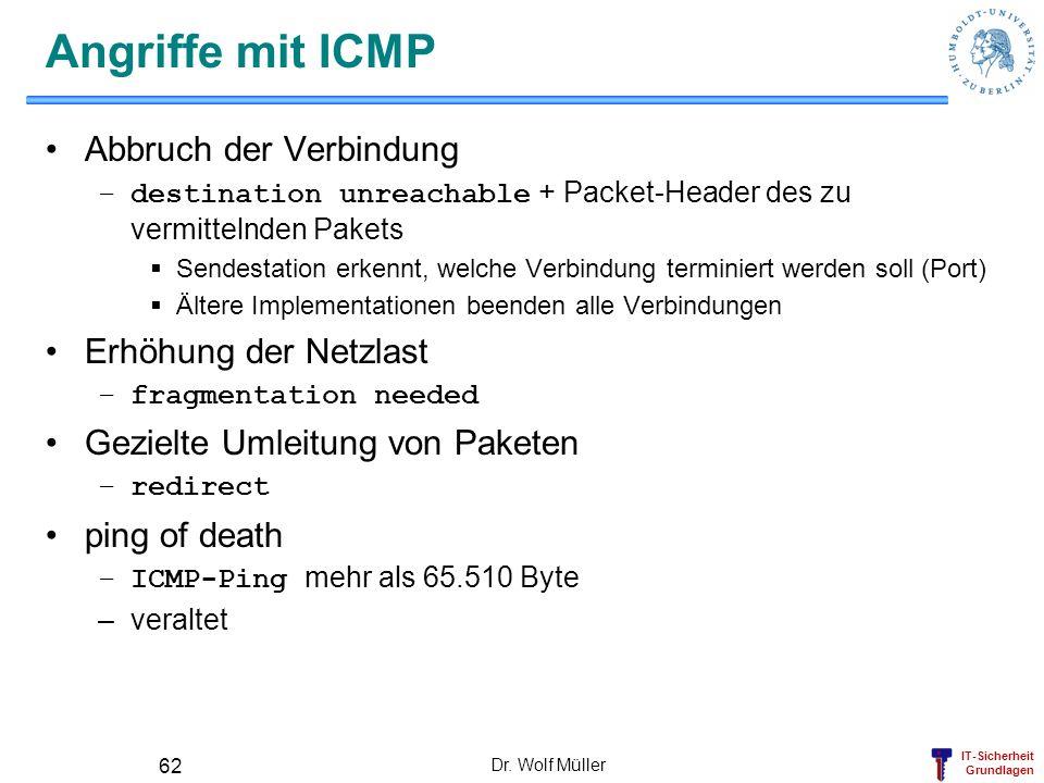 Angriffe mit ICMP Abbruch der Verbindung Erhöhung der Netzlast