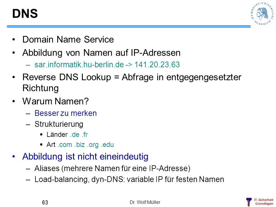 DNS Domain Name Service Abbildung von Namen auf IP-Adressen