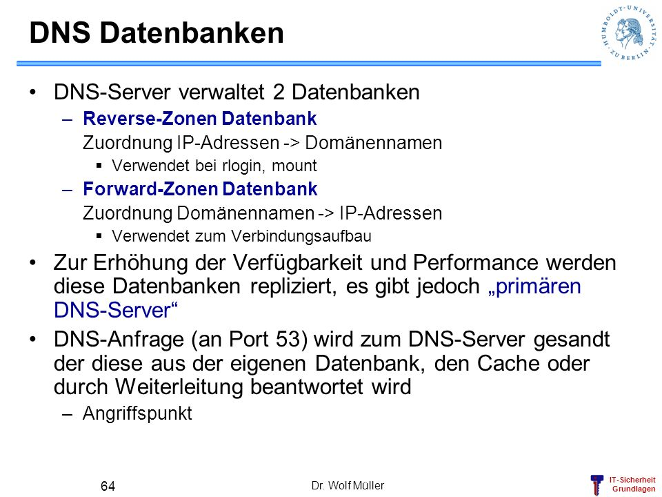 DNS Datenbanken DNS-Server verwaltet 2 Datenbanken