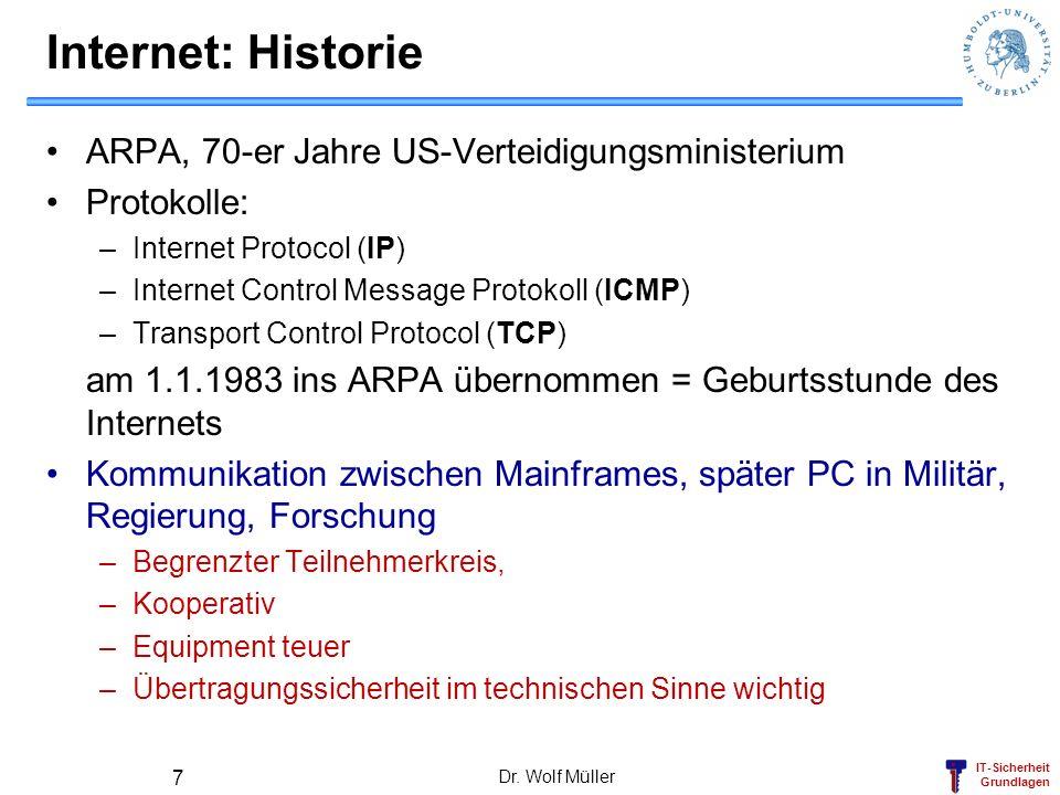 Internet: Historie ARPA, 70-er Jahre US-Verteidigungsministerium