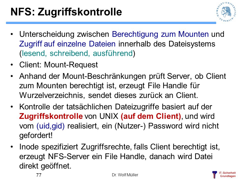 NFS: Zugriffskontrolle