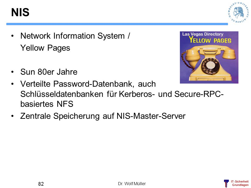 NIS Network Information System / Yellow Pages Sun 80er Jahre