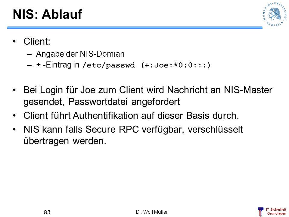 NIS: Ablauf Client: Angabe der NIS-Domian. + -Eintrag in /etc/passwd (+:Joe:*0:0:::)