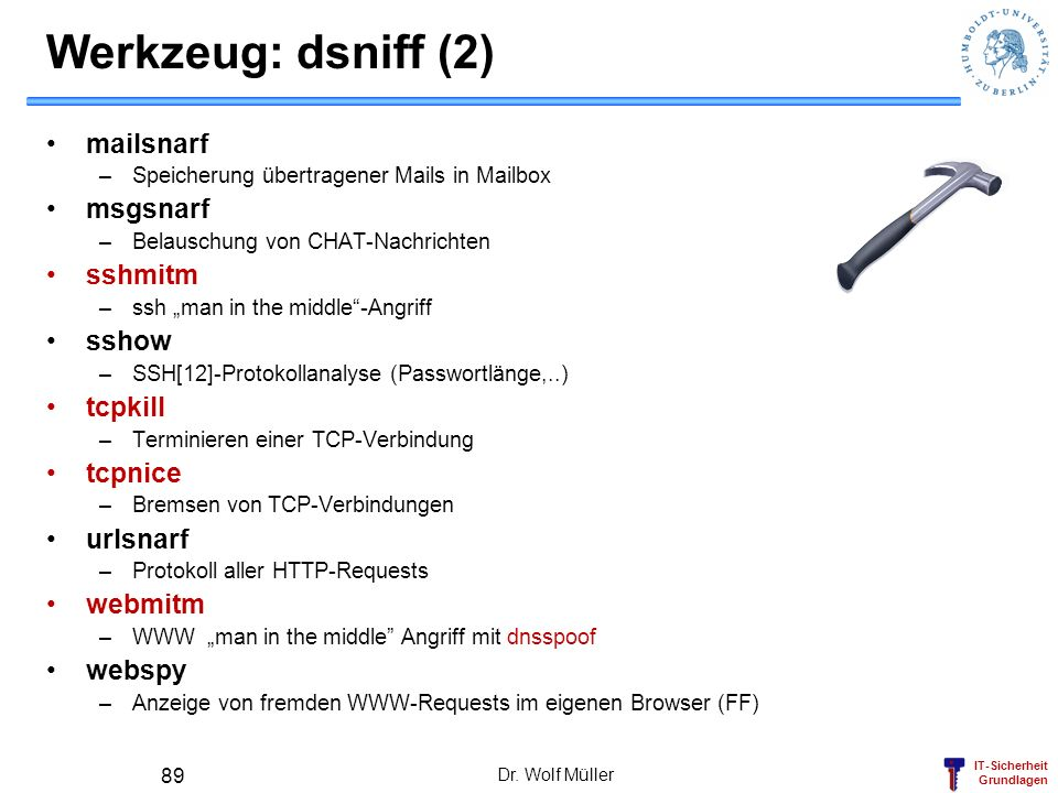 Werkzeug: dsniff (2) mailsnarf msgsnarf sshmitm sshow tcpkill tcpnice