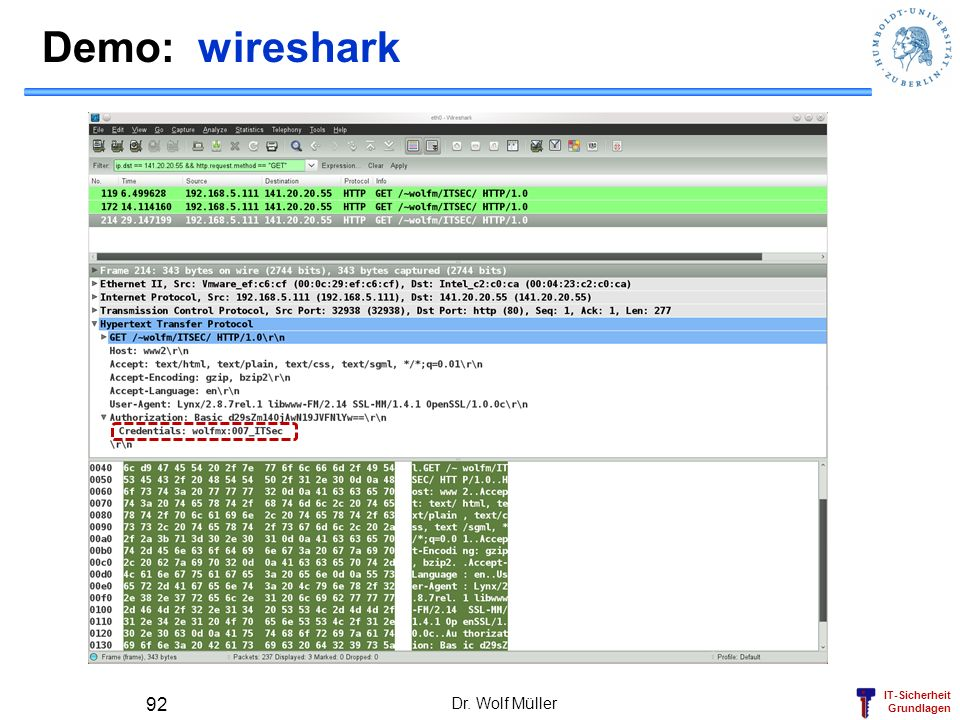 Demo: wireshark Dr. Wolf Müller