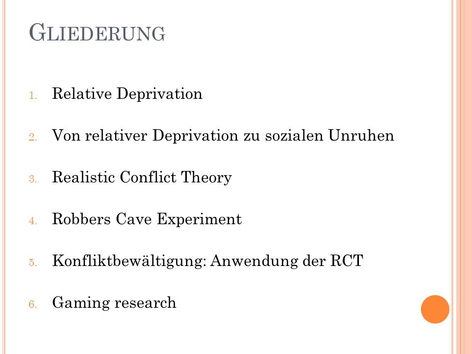 Gliederung Relative Deprivation