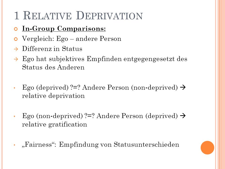 1 Relative Deprivation In-Group Comparisons: