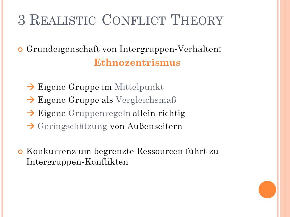 3 Realistic Conflict Theory