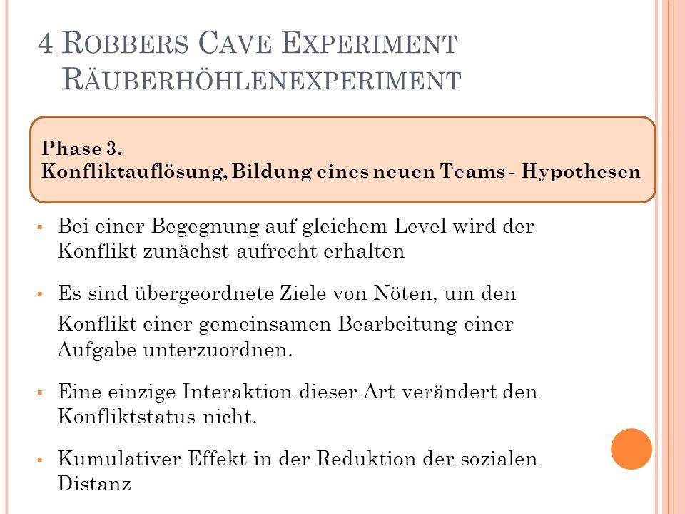 Phase 3. Konfliktauflösung, Bildung eines neuen Teams - Hypothesen