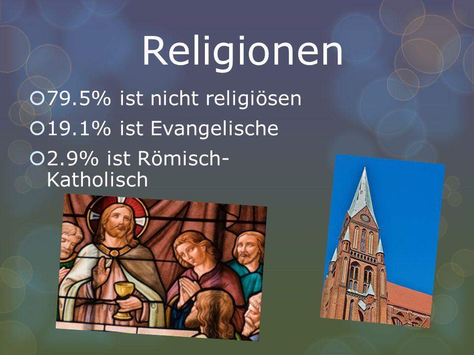 Religionen 79.5% ist nicht religiösen 19.1% ist Evangelische