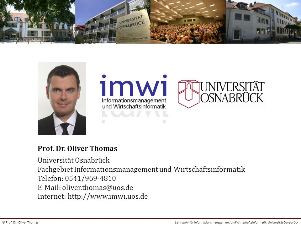 Kontakt Prof. Dr. Oliver Thomas Universität Osnabrück