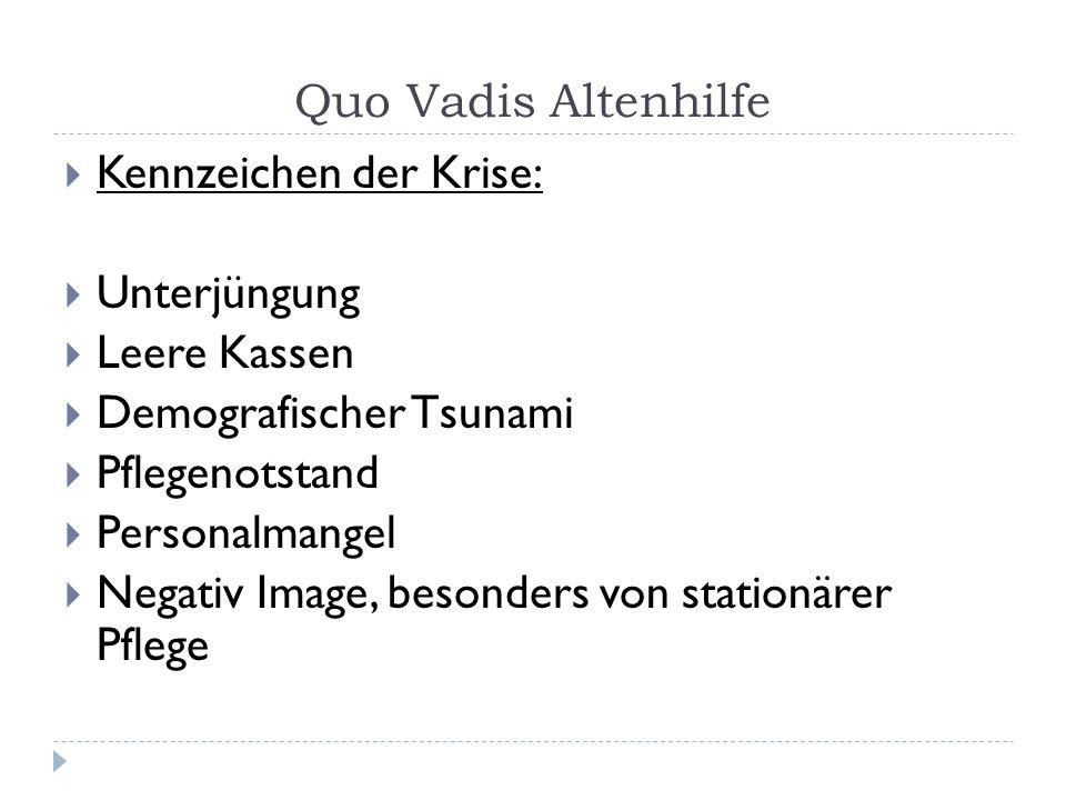 Quo Vadis Altenhilfe Kennzeichen der Krise: Unterjüngung. Leere Kassen. Demografischer Tsunami. Pflegenotstand.