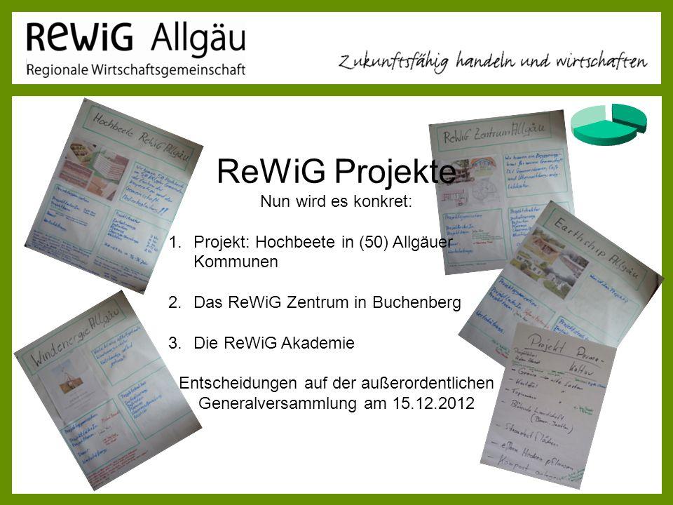 ReWiG Projekte Nun wird es konkret: