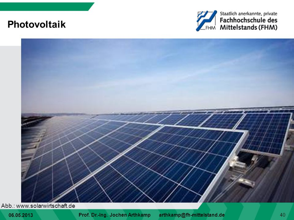 Photovoltaik Abb.: www.solarwirtschaft.de