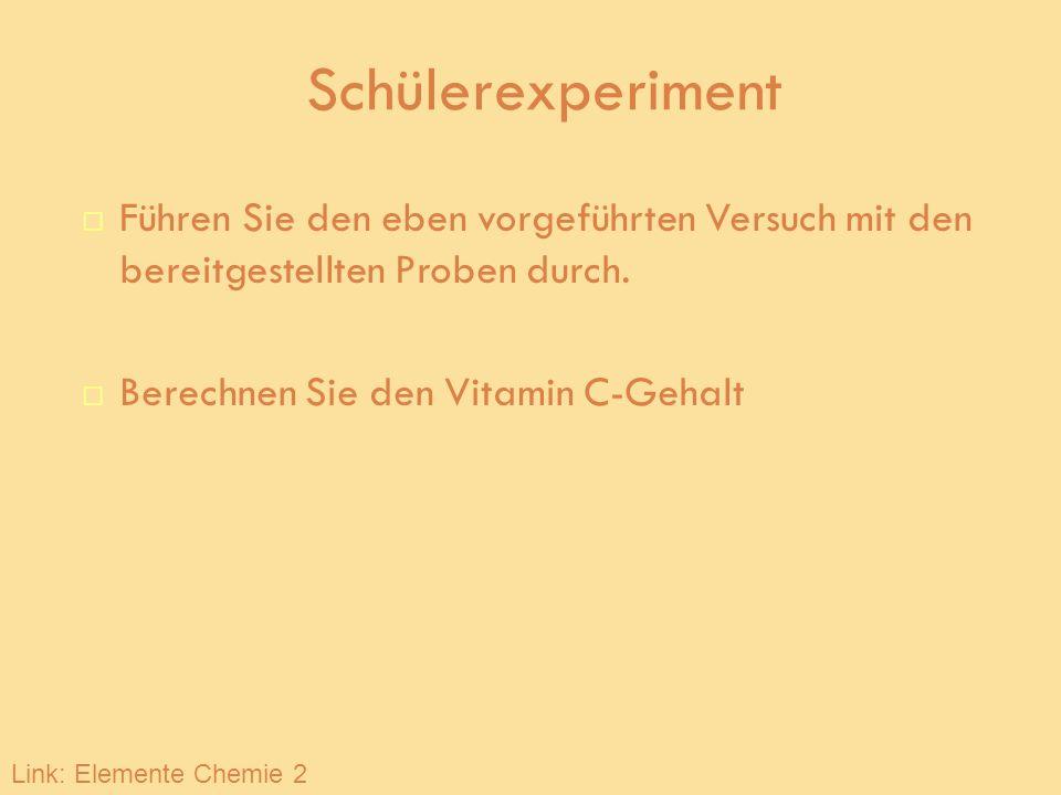 Schülerexperiment Führen Sie den eben vorgeführten Versuch mit den bereitgestellten Proben durch. Berechnen Sie den Vitamin C-Gehalt.