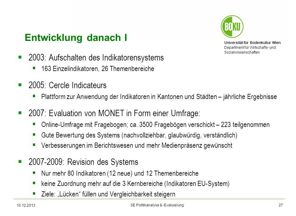 Entwicklung danach I 2003: Aufschalten des Indikatorensystems