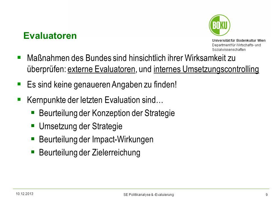 Evaluatoren Maßnahmen des Bundes sind hinsichtlich ihrer Wirksamkeit zu überprüfen: externe Evaluatoren, und internes Umsetzungscontrolling.