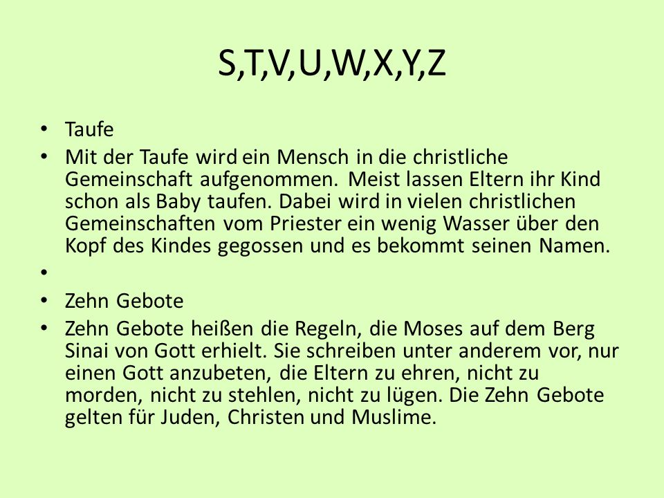S,T,V,U,W,X,Y,Z Taufe.