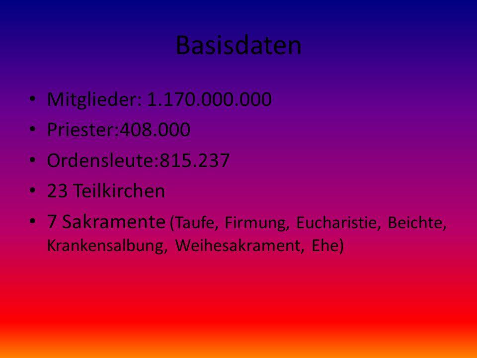 Basisdaten Mitglieder: 1.170.000.000 Priester:408.000