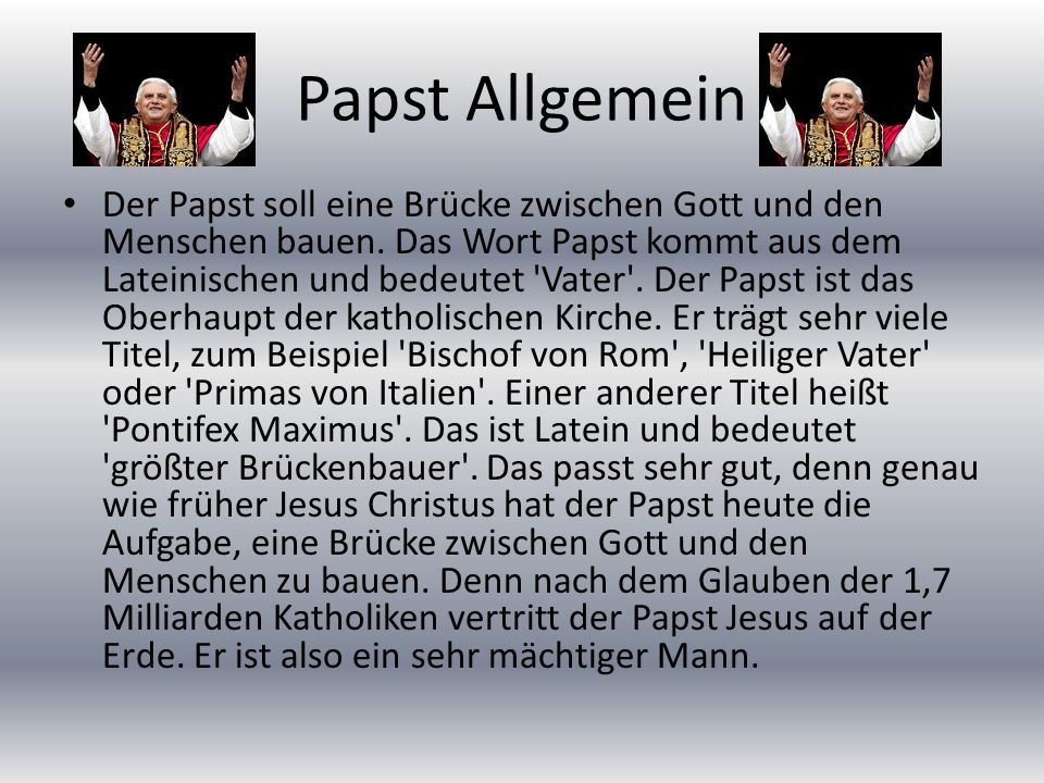 Papst Allgemein