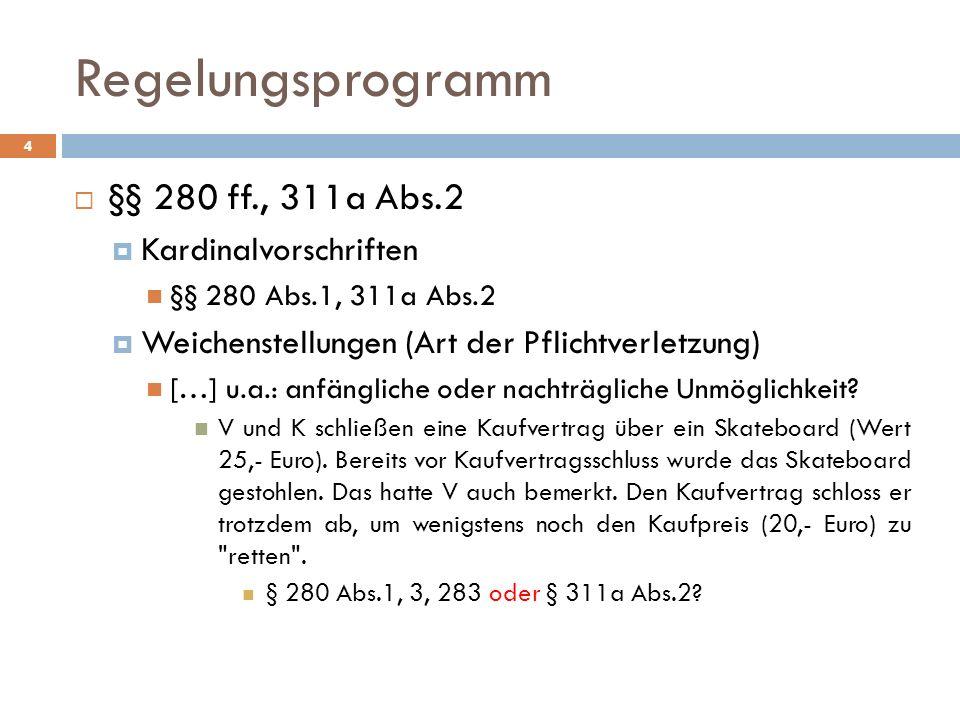 Regelungsprogramm §§ 280 ff., 311a Abs.2 Kardinalvorschriften