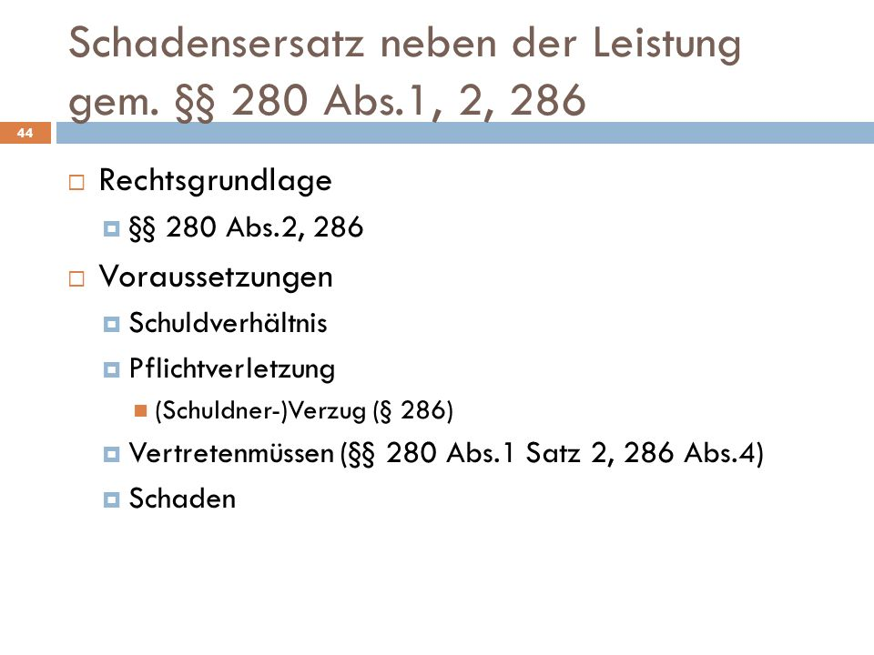Schadensersatz neben der Leistung gem. §§ 280 Abs.1, 2, 286
