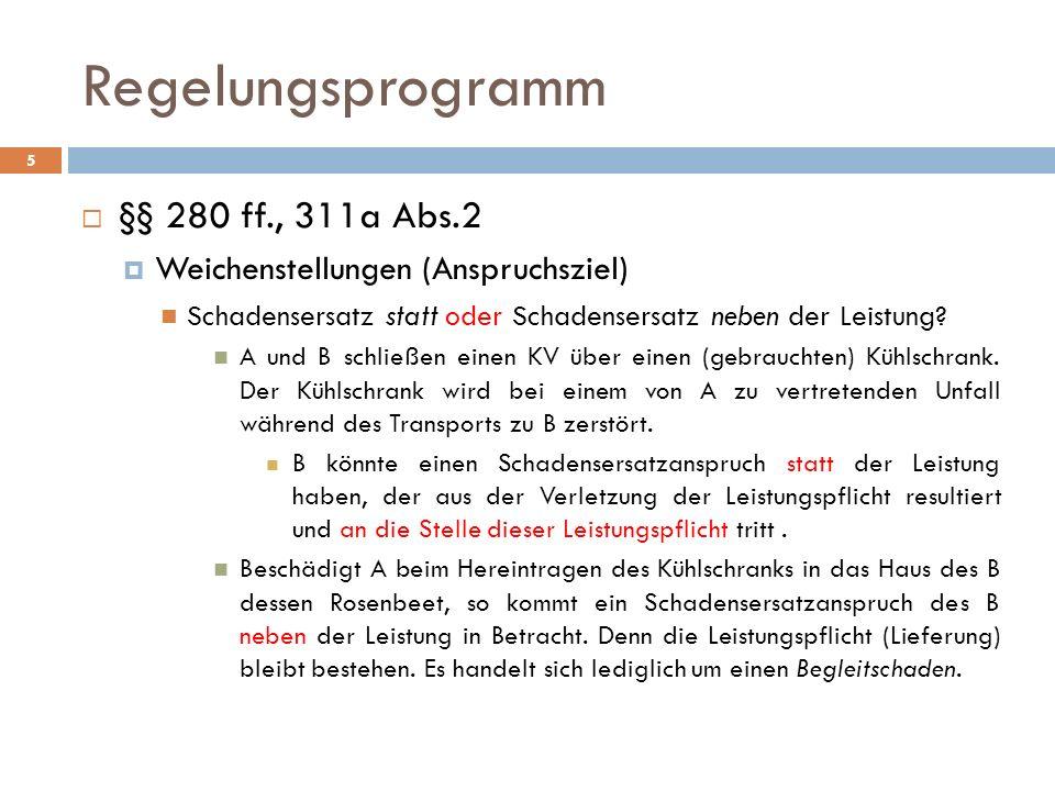 Regelungsprogramm §§ 280 ff., 311a Abs.2