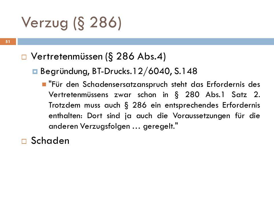 Verzug (§ 286) Vertretenmüssen (§ 286 Abs.4) Schaden