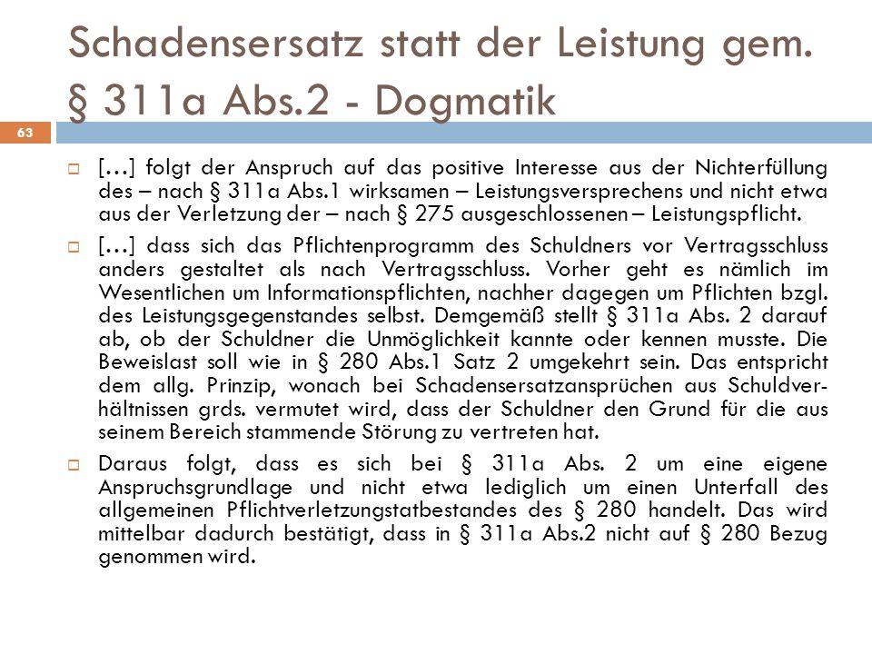 Schadensersatz statt der Leistung gem. § 311a Abs.2 - Dogmatik