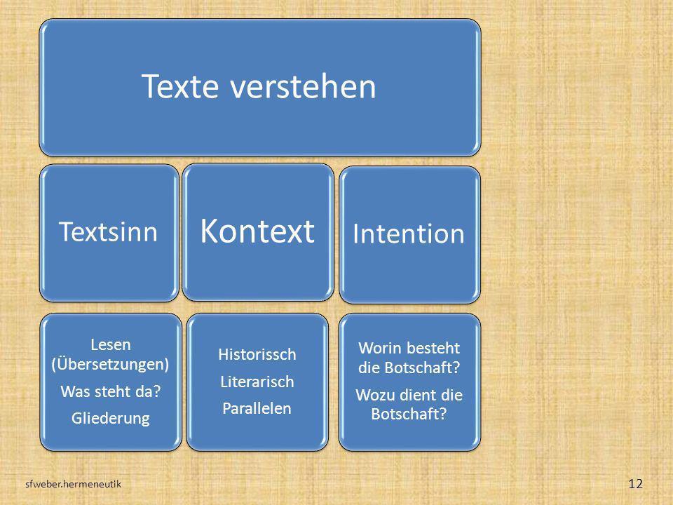 sfweber.hermeneutik Texte verstehen Textsinn Lesen (Übersetzungen)