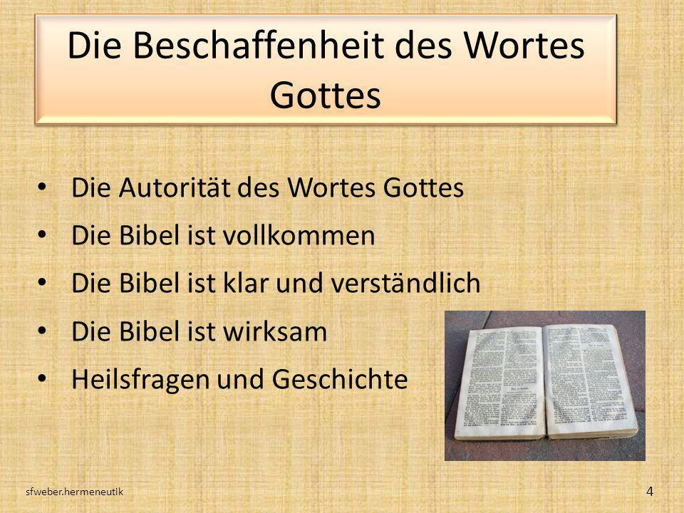 Die Beschaffenheit des Wortes Gottes