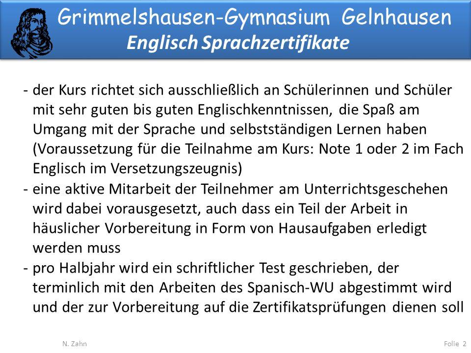Grimmelshausen-Gymnasium Gelnhausen Englisch Sprachzertifikate