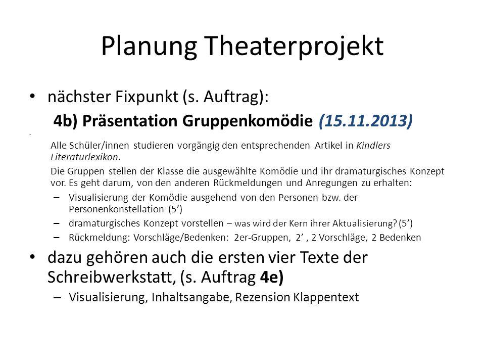 Planung Theaterprojekt