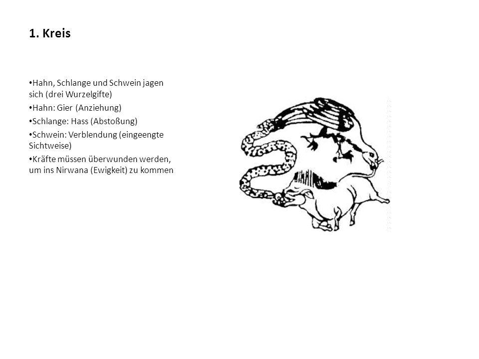 1. Kreis Hahn, Schlange und Schwein jagen sich (drei Wurzelgifte)