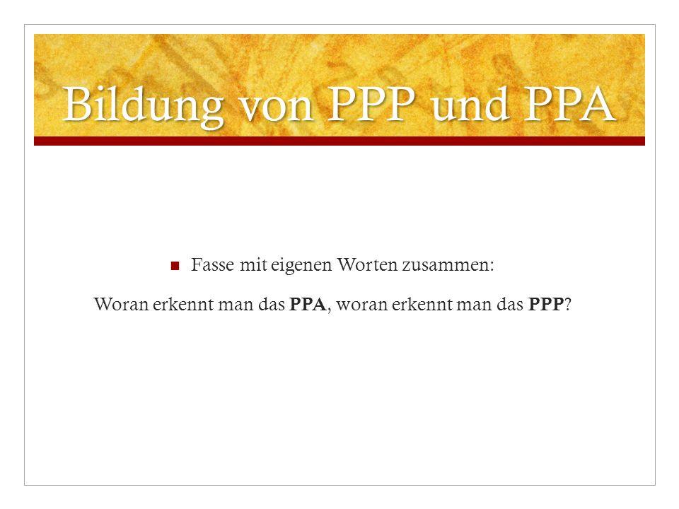 Bildung von PPP und PPA Fasse mit eigenen Worten zusammen: