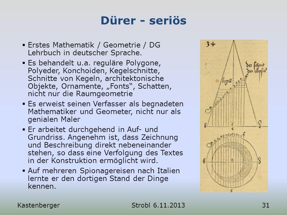 Dürer - seriös Erstes Mathematik / Geometrie / DG Lehrbuch in deutscher Sprache.