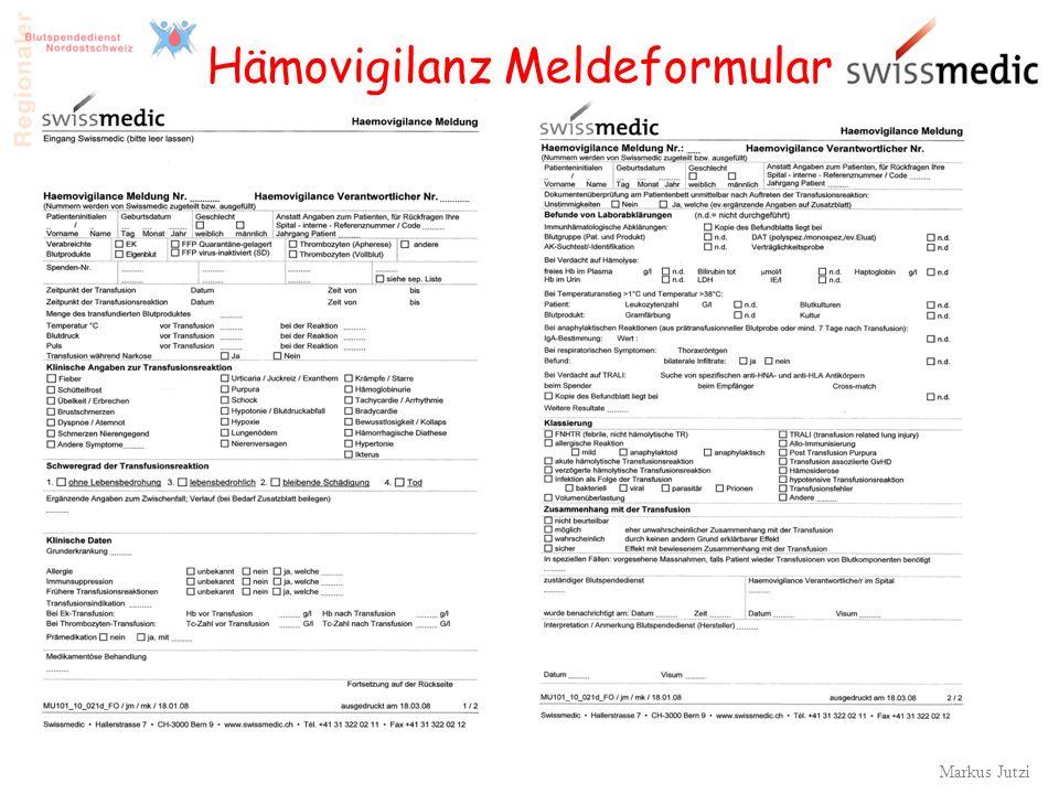 Hämovigilanz Meldeformular