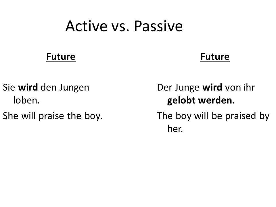 Active vs. Passive Future Sie wird den Jungen loben.