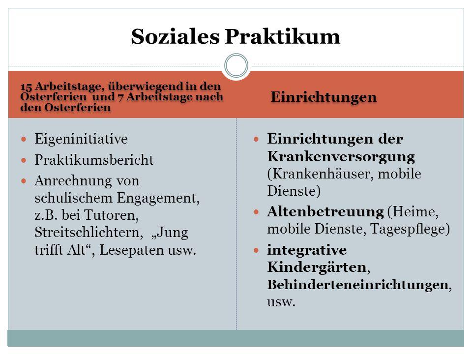 Soziales Praktikum Einrichtungen Eigeninitiative Praktikumsbericht