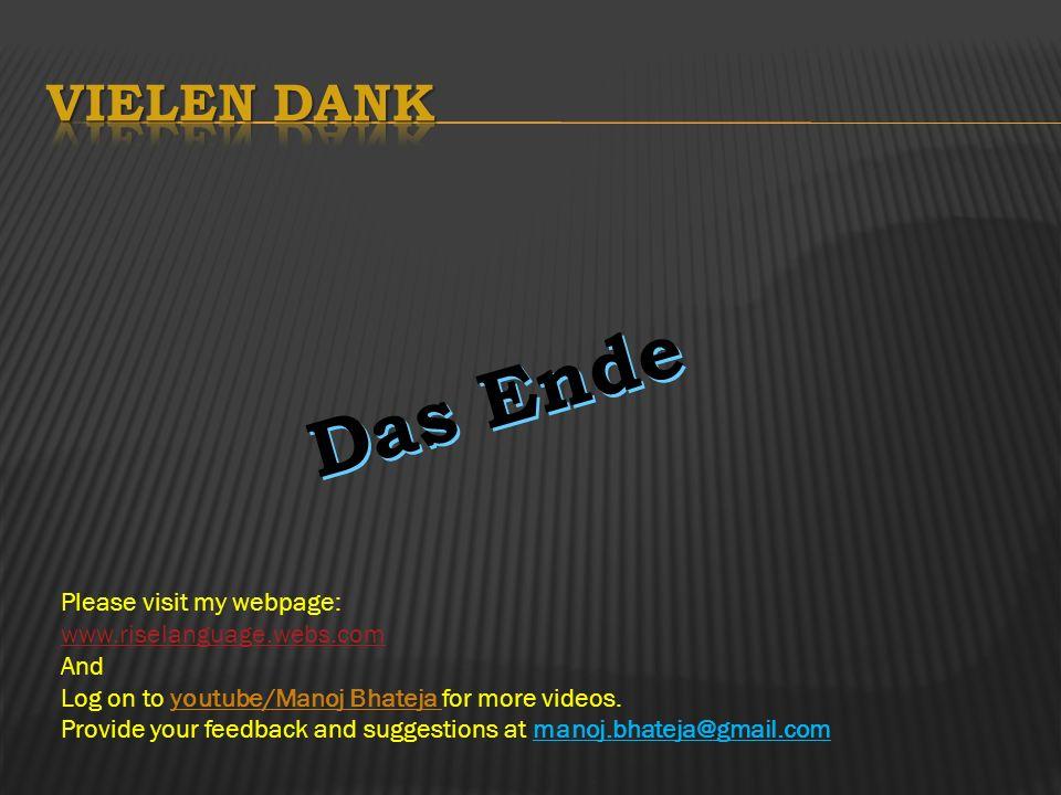 Das Ende Vielen Dank Please visit my webpage: