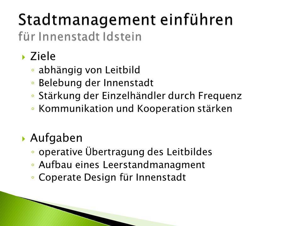 Stadtmanagement einführen für Innenstadt Idstein