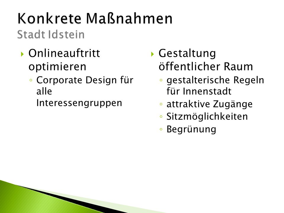 Konkrete Maßnahmen Stadt Idstein