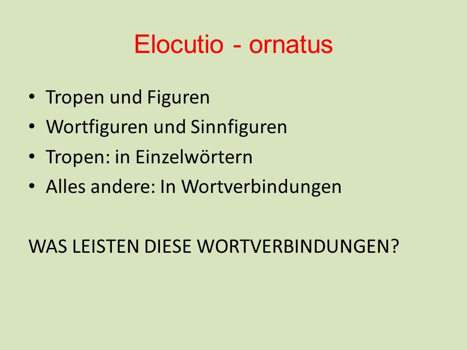 Elocutio - ornatus Tropen und Figuren Wortfiguren und Sinnfiguren