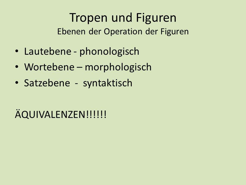 Tropen und Figuren Ebenen der Operation der Figuren