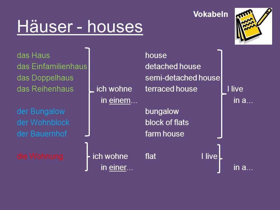 Häuser - houses Vokabeln